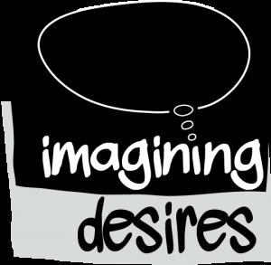 imagining desire - Logo schwarzweisse Schrift und Denkblase