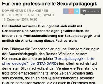 ein Screenshot von DerStandard Online, wo der Titel ews Kommentars und die Autorinnen zu lesen sind