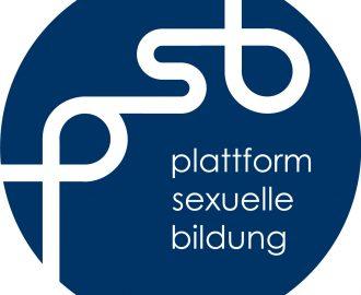 Logo, das aus einem blauer Kreis besteht, in dem plattform sexuelle bildung steht