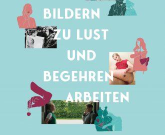 türkises Cover mit mehreren kleinen Bildern z.B. eine Aufnahme von Valie Exports Tapp- und Tastkino. Der Text beeinhaltet den Titel und die Autorinnen des Buches.